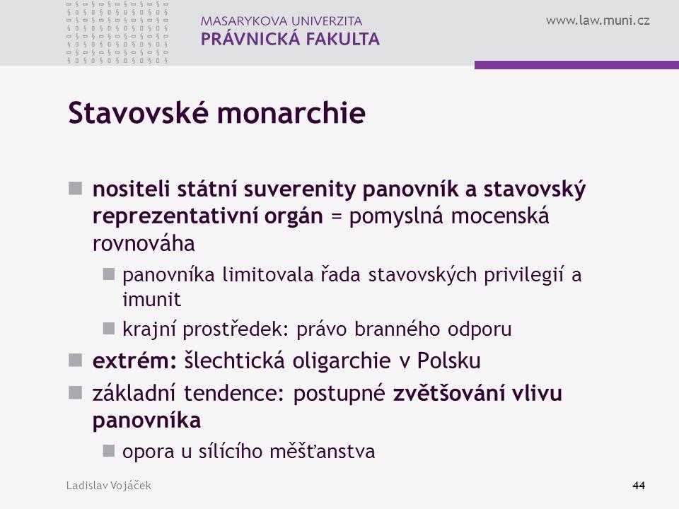 www.law.muni.cz Ladislav Vojáček44 Stavovské monarchie nositeli státní suverenity panovník a stavovský reprezentativní orgán = pomyslná mocenská rovno