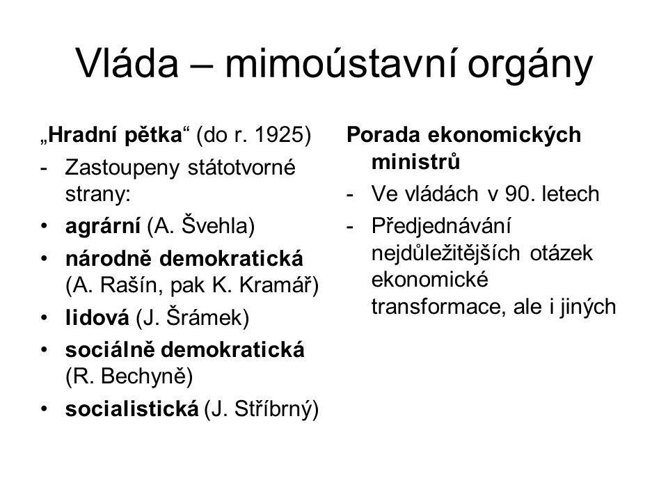 """Vláda – mimoústavní orgány """"Hradní pětka"""" (do r. 1925) -Zastoupeny státotvorné strany: agrární (A. Švehla) národně demokratická (A. Rašín, pak K. Kr"""