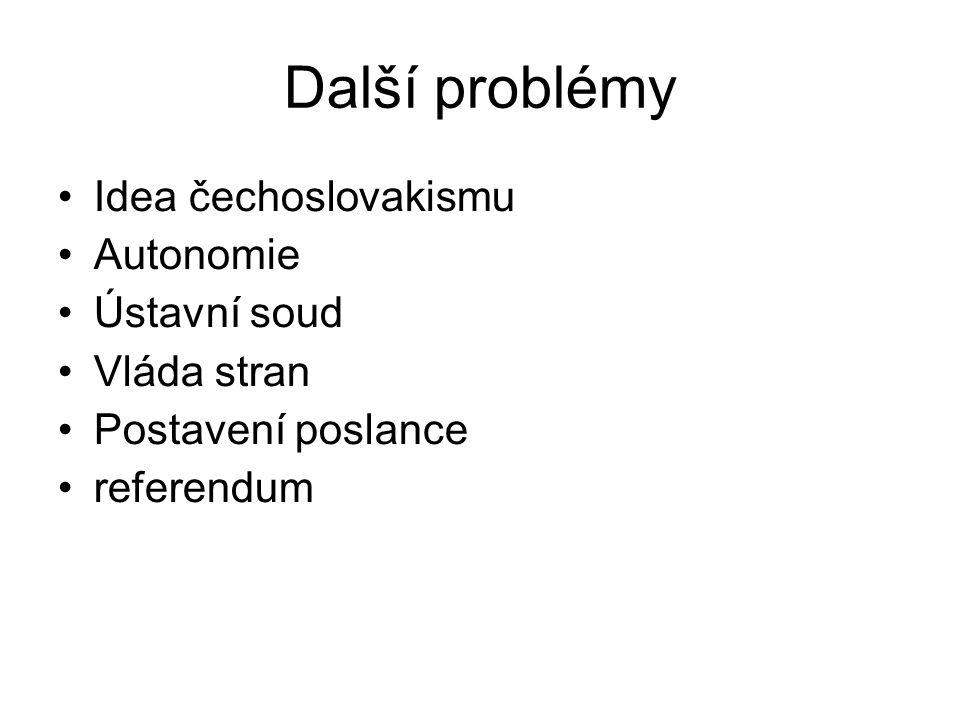 Další problémy Idea čechoslovakismu Autonomie Ústavní soud Vláda stran Postavení poslance referendum