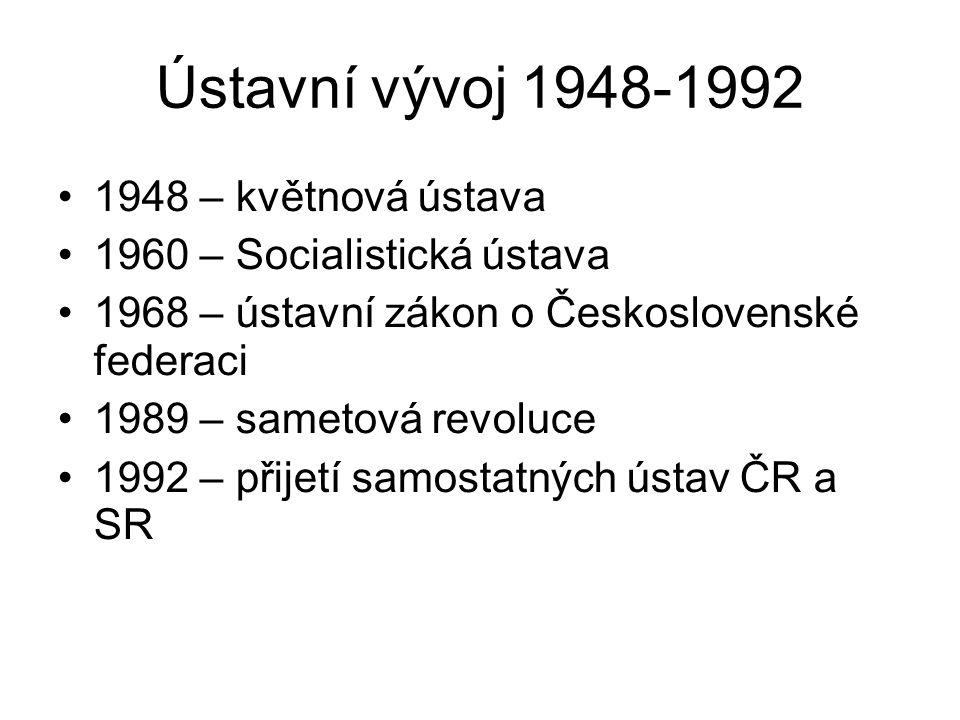 Ústavní vývoj 1948-1992 1948 – květnová ústava 1960 – Socialistická ústava 1968 – ústavní zákon o Československé federaci 1989 – sametová revoluce 199