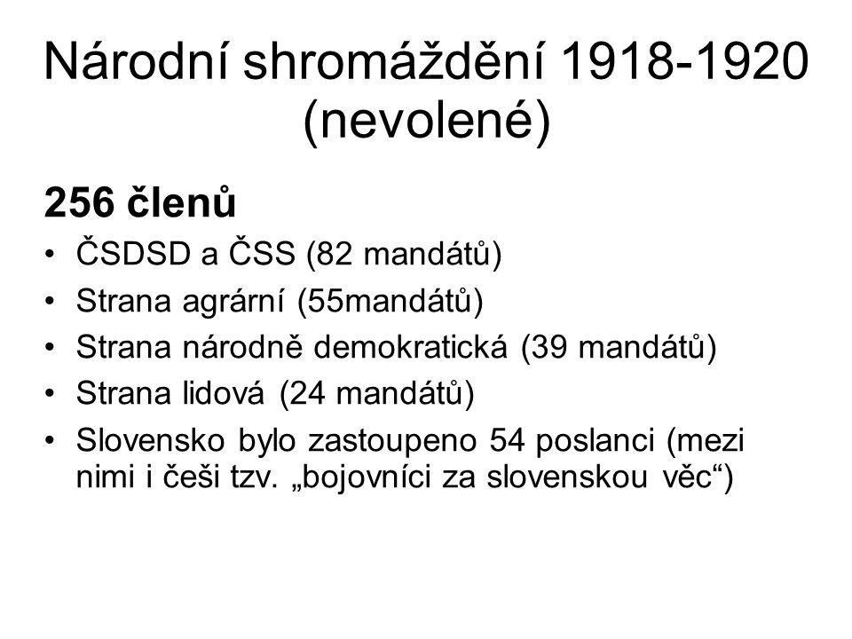 Národní shromáždění 1918-1920 (nevolené) 256 členů ČSDSD a ČSS (82 mandátů) Strana agrární (55mandátů) Strana národně demokratická (39 mandátů) Str