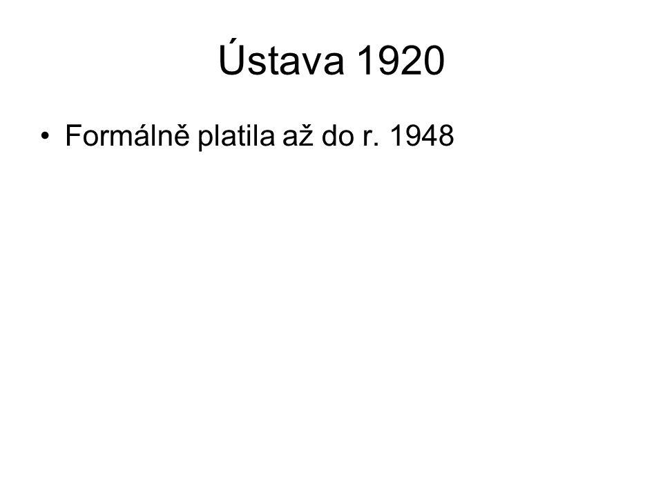 Ústavní vývoj 1948-1992 1948 – květnová ústava 1960 – Socialistická ústava 1968 – ústavní zákon o Československé federaci 1989 – sametová revoluce 1992 – přijetí samostatných ústav ČR a SR