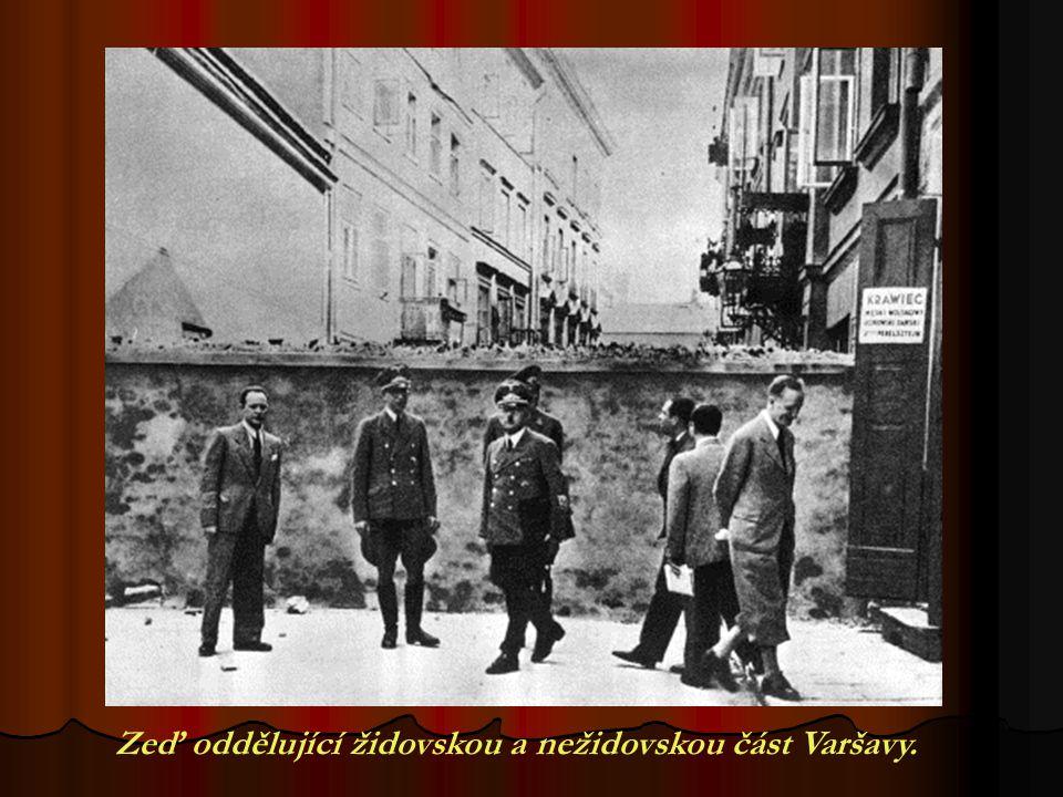 Zeď oddělující židovskou a nežidovskou část Varšavy.