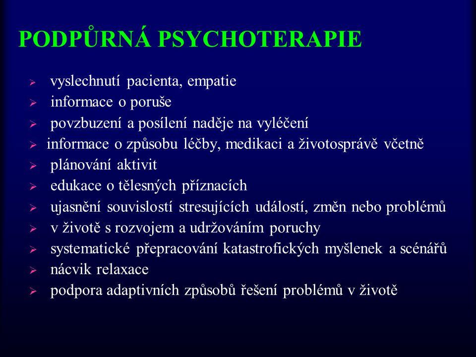 PODPŮRNÁ PSYCHOTERAPIE  vyslechnutí pacienta, empatie  informace o poruše  povzbuzení a posílení naděje na vyléčení  informace o způsobu léčby, me