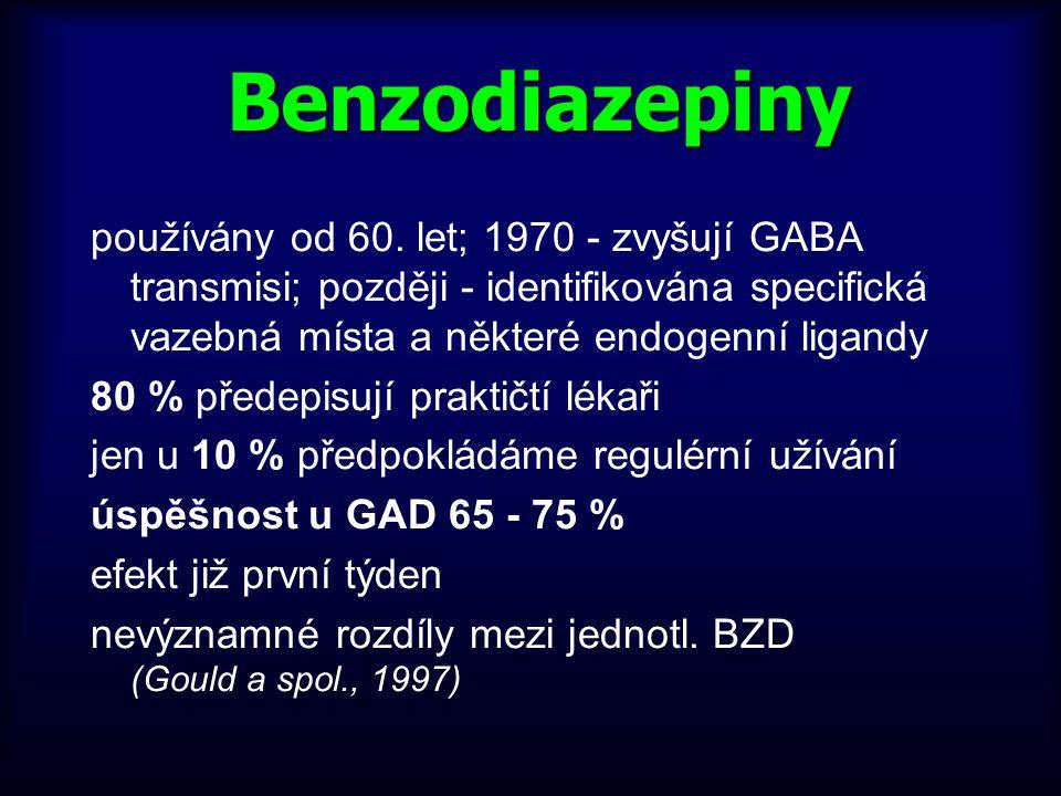 Benzodiazepiny používány od 60. let; 1970 - zvyšují GABA transmisi; později - identifikována specifická vazebná místa a některé endogenní ligandy 80 %