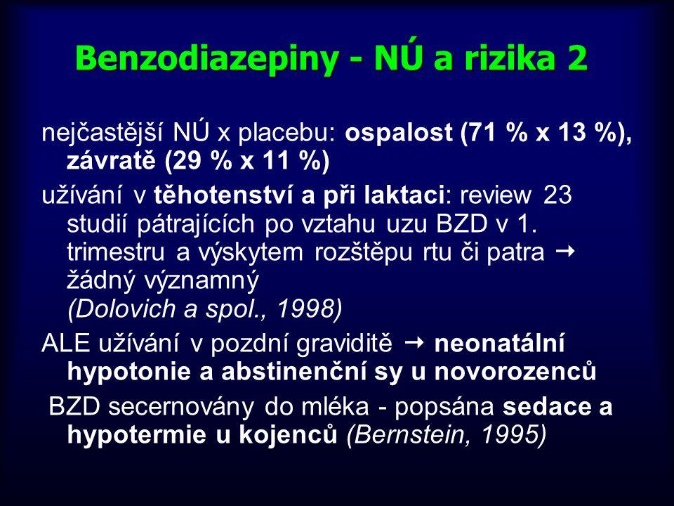 Benzodiazepiny - NÚ a rizika 2 nejčastější NÚ x placebu: ospalost (71 % x 13 %), závratě (29 % x 11 %) užívání v těhotenství a při laktaci: review 23