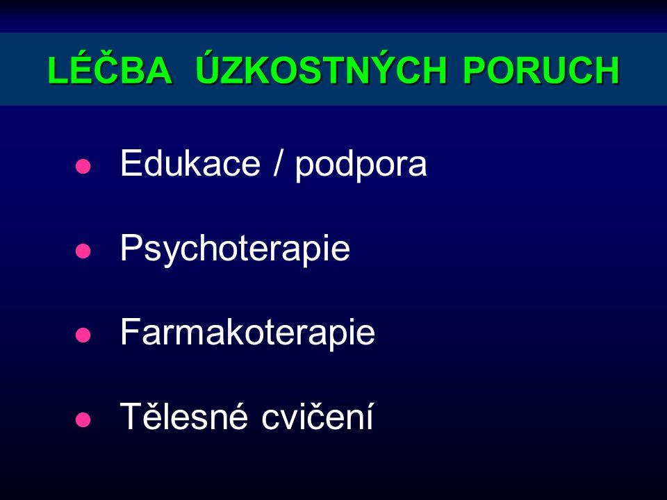 LÉČBA ÚZKOSTNÝCH PORUCH l Edukace / podpora l Psychoterapie l Farmakoterapie l Tělesné cvičení