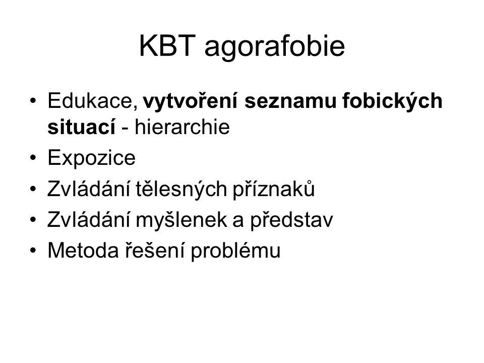 KBT agorafobie Edukace, vytvoření seznamu fobických situací - hierarchie Expozice Zvládání tělesných příznaků Zvládání myšlenek a představ Metoda řeše