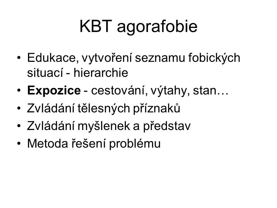 KBT agorafobie Edukace, vytvoření seznamu fobických situací - hierarchie Expozice - cestování, výtahy, stan… Zvládání tělesných příznaků Zvládání myšl