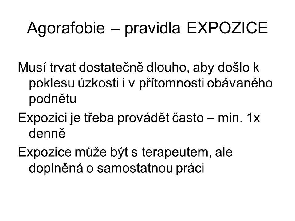 Agorafobie – pravidla EXPOZICE Musí trvat dostatečně dlouho, aby došlo k poklesu úzkosti i v přítomnosti obávaného podnětu Expozici je třeba provádět