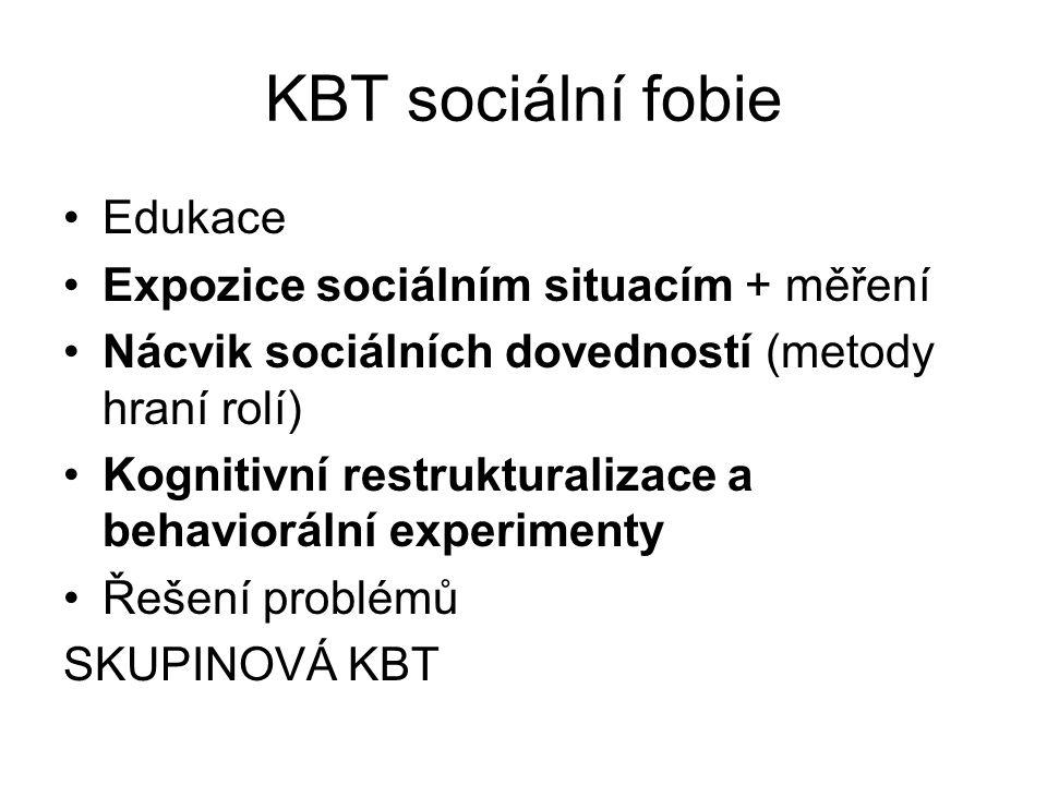 KBT sociální fobie Edukace Expozice sociálním situacím + měření Nácvik sociálních dovedností (metody hraní rolí) Kognitivní restrukturalizace a behavi