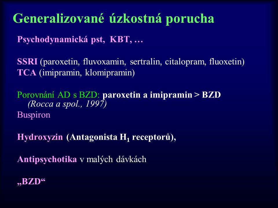 Generalizované úzkostná porucha Psychodynamická pst, KBT, … SSRI (paroxetin, fluvoxamin, sertralin, citalopram, fluoxetin) TCA (imipramin, klomipramin