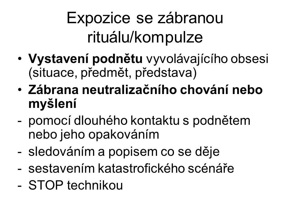 Expozice se zábranou rituálu/kompulze Vystavení podnětu vyvolávajícího obsesi (situace, předmět, představa) Zábrana neutralizačního chování nebo myšle
