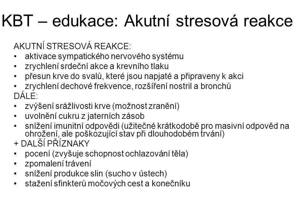 KBT – edukace: Akutní stresová reakce AKUTNÍ STRESOVÁ REAKCE: aktivace sympatického nervového systému zrychlení srdeční akce a krevního tlaku přesun k
