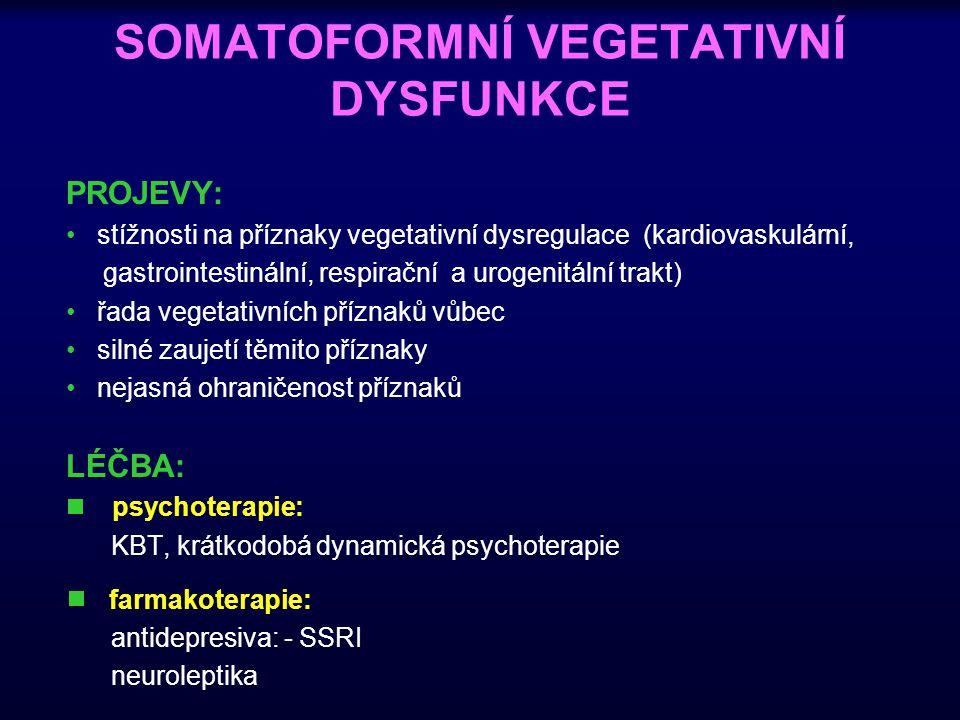 SOMATOFORMNÍ VEGETATIVNÍ DYSFUNKCE PROJEVY: stížnosti na příznaky vegetativní dysregulace (kardiovaskulární, gastrointestinální, respirační a urogenit