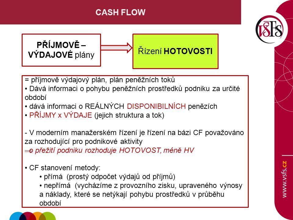 CASH FLOW = příjmově výdajový plán, plán peněžních toků Dává informaci o pohybu peněžních prostředků podniku za určité období dává informaci o REÁLNÝCH DISPONIBILNÍCH penězích PŘÍJMY x VÝDAJE (jejich struktura a tok) - V moderním manažerském řízení je řízení na bázi CF považováno za rozhodující pro podnikové aktivity  o přežití podniku rozhoduje HOTOVOST, méně HV CF stanovení metody: přímá (prostý odpočet výdajů od příjmů) nepřímá (vycházíme z provozního zisku, upraveného výnosy a náklady, které se netýkají pohybu prostředků v průběhu období PŘÍJMOVĚ – VÝDAJOVÉ plány Řízení HOTOVOSTI