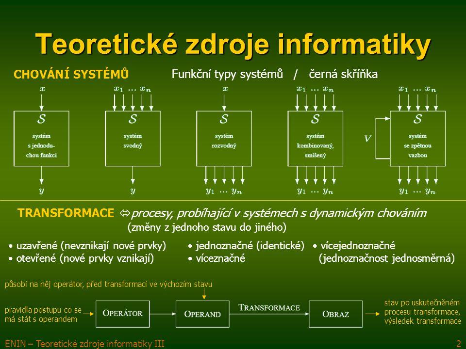 ENIN – Teoretické zdroje informatiky III2 Teoretické zdroje informatiky CHOVÁNÍ SYSTÉMŮ Funkční typy systémů / černá skříňka TRANSFORMACE  procesy, probíhající v systémech s dynamickým chováním (změny z jednoho stavu do jiného) pravidla postupu co se má stát s operandem působí na něj operátor, před transformací ve výchozím stavu stav po uskutečněném procesu transformace, výsledek transformace uzavřené (nevznikají nové prvky) otevřené (nové prvky vznikají) jednoznačné (identické) víceznačné vícejednoznačné (jednoznačnost jednosměrná)