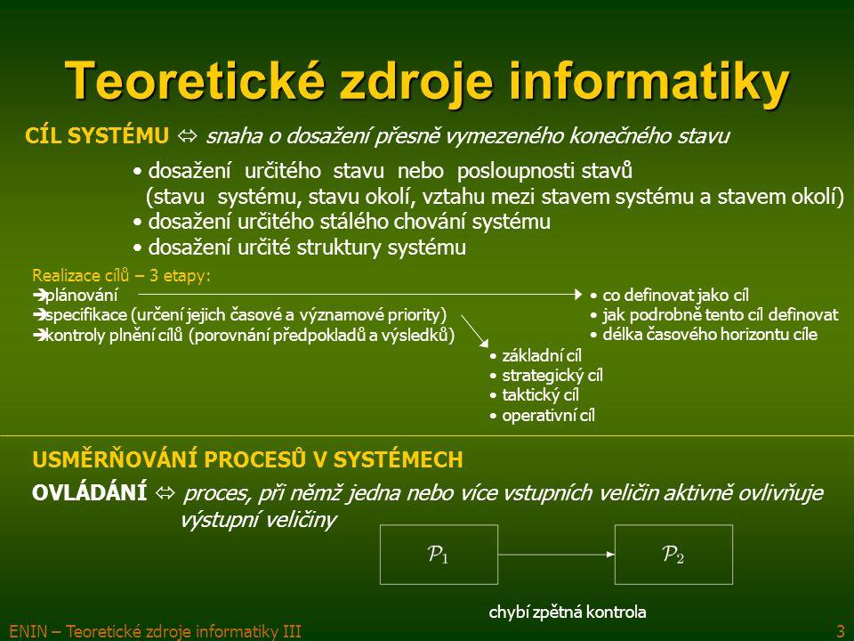 ENIN – Teoretické zdroje informatiky III4 Teoretické zdroje informatiky REGULACE  působení vykonavatele (regulátoru) na předmět činnosti (regulovanou soustavu), při kterém je účelem udržovat stálost (nebo odchylky v přípustných mezích) těch vlastností regulované soustavy, které jsou podstatné z hlediska jeho cílového chování USMĚRŇOVÁNÍ PROCESŮ V SYSTÉMECH musí existovat zpětná vazba regulační obvod (regulátor, regulovaná soustava, zpětná vazba) účel regulace: udržení regulované hodnoty na předem stanovené hodnotě nebo ve stanovených mezích schéma regulace:  nepůsobí porucha => systém v rovnováze  změna řídící nebo poruchové veličiny => nerovnováha, startuje se regulační proces, aby soustava dosáhla rovnováhy