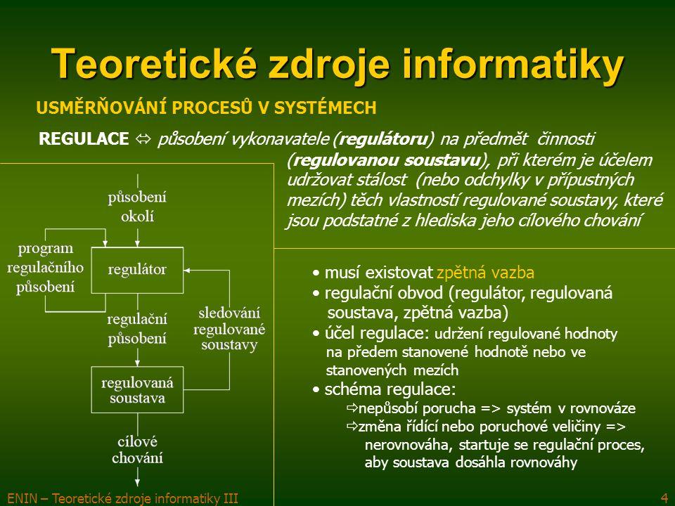 ENIN – Teoretické zdroje informatiky III5 Teoretické zdroje informatiky ŘÍZENÍ  vědomá činnost (působení, usměrňování) vykonavatele (řídící složky systému, subjektu řízení) směrem k předmětu činnosti (výkonné části systému, objektu řízení), při které je účelem působení vyvolat u výkonného systému takové chování z množiny jeho možných chování, kterým se dosáhne žádaného cíle USMĚRŇOVÁNÍ PROCESŮ V SYSTÉMECH nejvyšší stupeň usměrňování procesů musí existovat zpětná vazba musí existovat organizovaná soustava (subjekt a objekt řízení, zpětná vazba) musí být stanoven cíl řízení/systému (může se v průběhu času vyvíjet) objekt ř.