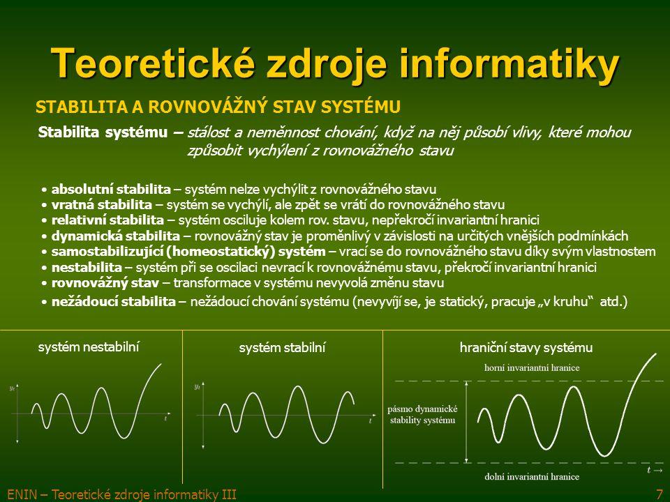ENIN – Teoretické zdroje informatiky III7 absolutní stabilita – systém nelze vychýlit z rovnovážného stavu vratná stabilita – systém se vychýlí, ale zpět se vrátí do rovnovážného stavu relativní stabilita – systém osciluje kolem rov.