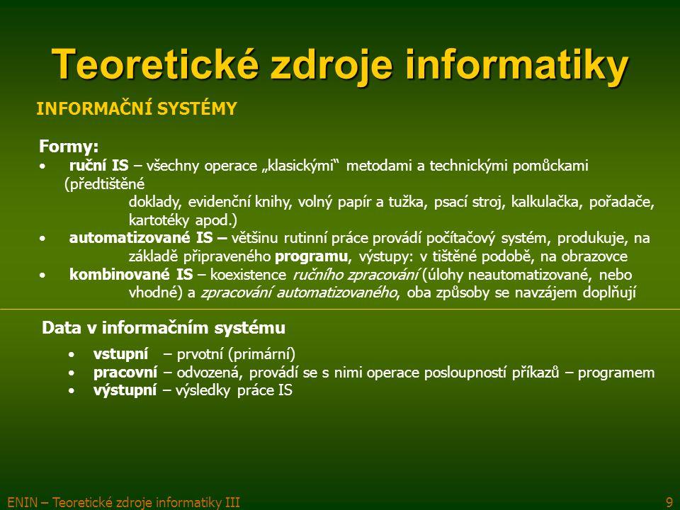"""ENIN – Teoretické zdroje informatiky III9 Teoretické zdroje informatiky Formy: ruční IS – všechny operace """"klasickými metodami a technickými pomůckami (předtištěné doklady, evidenční knihy, volný papír a tužka, psací stroj, kalkulačka, pořadače, kartotéky apod.) automatizované IS – většinu rutinní práce provádí počítačový systém, produkuje, na základě připraveného programu, výstupy: v tištěné podobě, na obrazovce kombinované IS – koexistence ručního zpracování (úlohy neautomatizované, nebo vhodné) a zpracování automatizovaného, oba způsoby se navzájem doplňují INFORMAČNÍ SYSTÉMY Data v informačním systému vstupní – prvotní (primární) pracovní – odvozená, provádí se s nimi operace posloupností příkazů – programem výstupní – výsledky práce IS"""