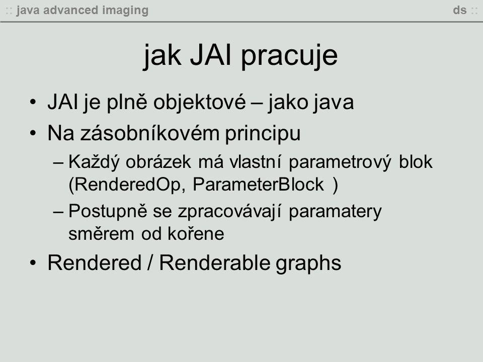 :: java advanced imagingds :: jak JAI pracuje JAI je plně objektové – jako java Na zásobníkovém principu –Každý obrázek má vlastní parametrový blok (RenderedOp, ParameterBlock ) –Postupně se zpracovávají paramatery směrem od kořene Rendered / Renderable graphs
