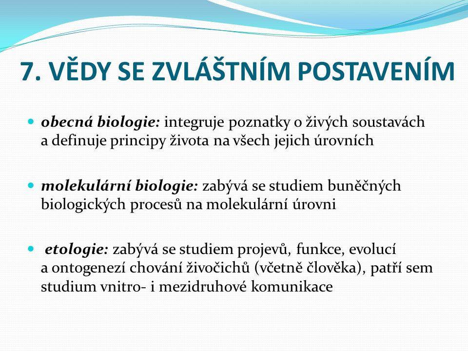 7. VĚDY SE ZVLÁŠTNÍM POSTAVENÍM obecná biologie: integruje poznatky o živých soustavách a definuje principy života na všech jejich úrovních molekulárn