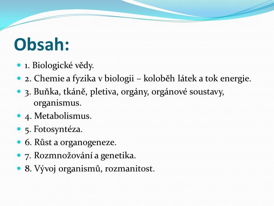 Obsah: 1. Biologické vědy. 2. Chemie a fyzika v biologii – koloběh látek a tok energie. 3. Buňka, tkáně, pletiva, orgány, orgánové soustavy, organismu