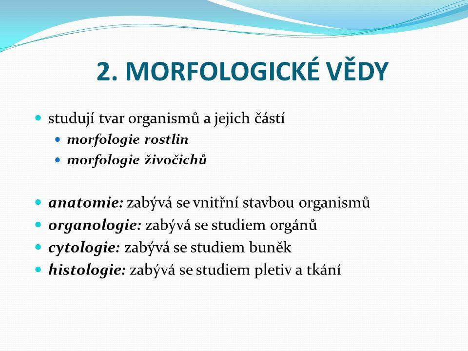 2. MORFOLOGICKÉ VĚDY studují tvar organismů a jejich částí morfologie rostlin morfologie živočichů anatomie: zabývá se vnitřní stavbou organismů organ