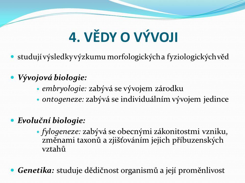 4. VĚDY O VÝVOJI studují výsledky výzkumu morfologických a fyziologických věd Vývojová biologie: embryologie: zabývá se vývojem zárodku ontogeneze: za