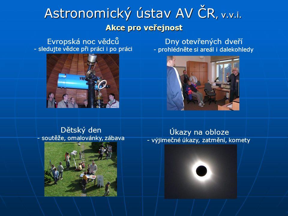 Astronomický ústav AV ČR, v.v.i. Akce pro veřejnost Dny otevřených dveříEvropská noc vědců Dětský den Úkazy na obloze - sledujte vědce při práci i po