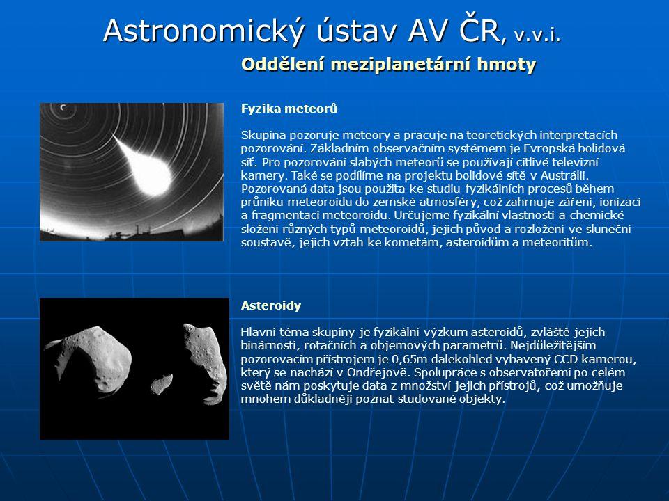 Astronomický ústav AV ČR, v.v.i. Oddělení meziplanetární hmoty Asteroidy Hlavní téma skupiny je fyzikální výzkum asteroidů, zvláště jejich binárnosti,