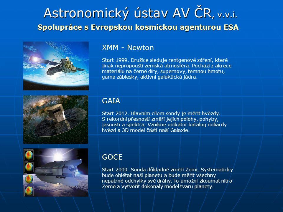 Astronomický ústav AV ČR, v.v.i. Spolupráce s Evropskou kosmickou agenturou ESA XMM - Newton Start 1999. Družice sleduje rentgenové záření, které jina