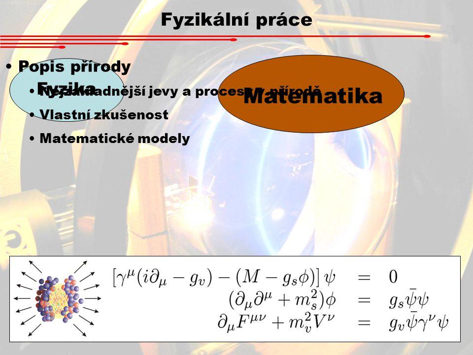Fyzikální práce Matematika Fyzika Popis přírody Nejzákladnější jevy a procesy v přírodě Vlastní zkušenost Matematické modely 100 kg = 20 x větší = 50 x menší Spotřeba na známou plochu