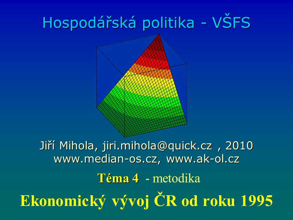 Ekonomický vývoj ČR od roku 1995 Hospodářská politika - VŠFS Jiří Mihola, jiri.mihola@quick.cz, 2010 www.median-os.cz, www.ak-ol.cz Téma 4 Téma 4 - metodika