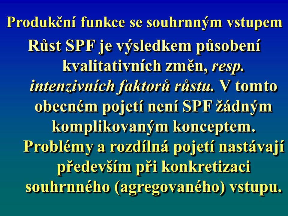 Produkční funkce se souhrnným vstupem Růst SPF je výsledkem působení kvalitativních změn, resp.