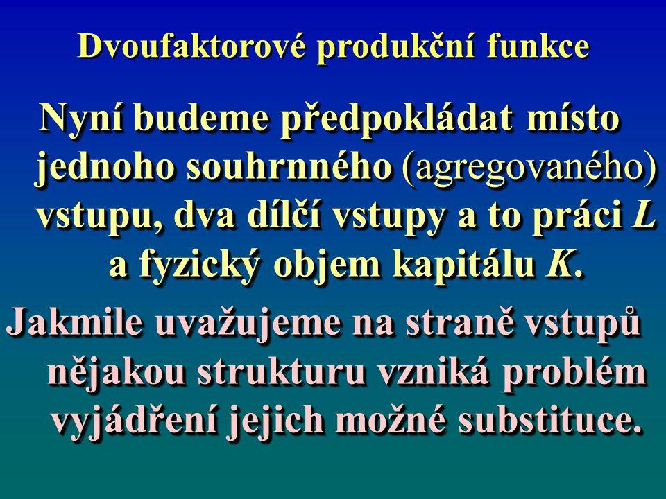 Dvoufaktorové produkční funkce Klíčový byl příspěvek Solowa (1957), který jednoduchým způsobem teoreticky rozvinul spojení mezi produkční funkcí a indexem produktivity.