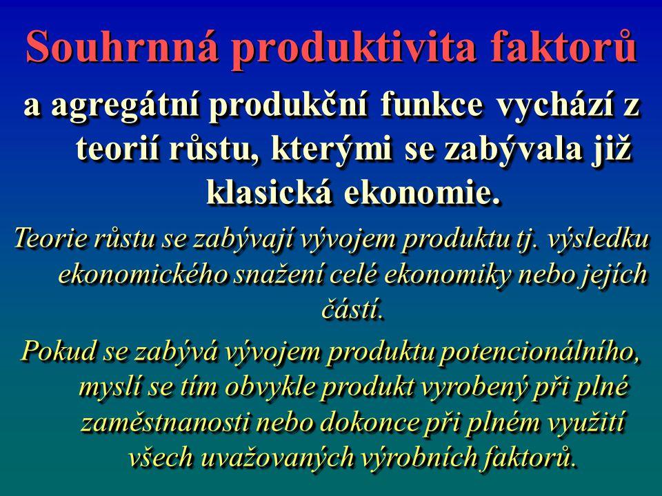 Souhrnná produktivita faktorů a agregátní produkční funkce vychází z teorií růstu, kterými se zabývala již klasická ekonomie.
