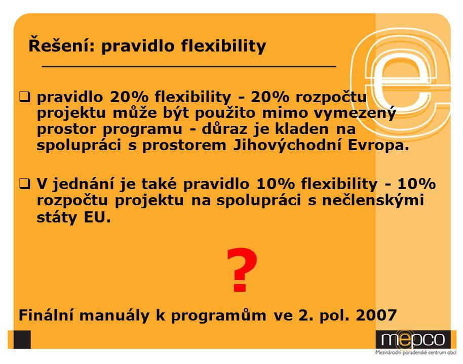 Řešení: pravidlo flexibility  pravidlo 20% flexibility - 20% rozpočtu projektu může být použito mimo vymezený prostor programu - důraz je kladen na spolupráci s prostorem Jihovýchodní Evropa.
