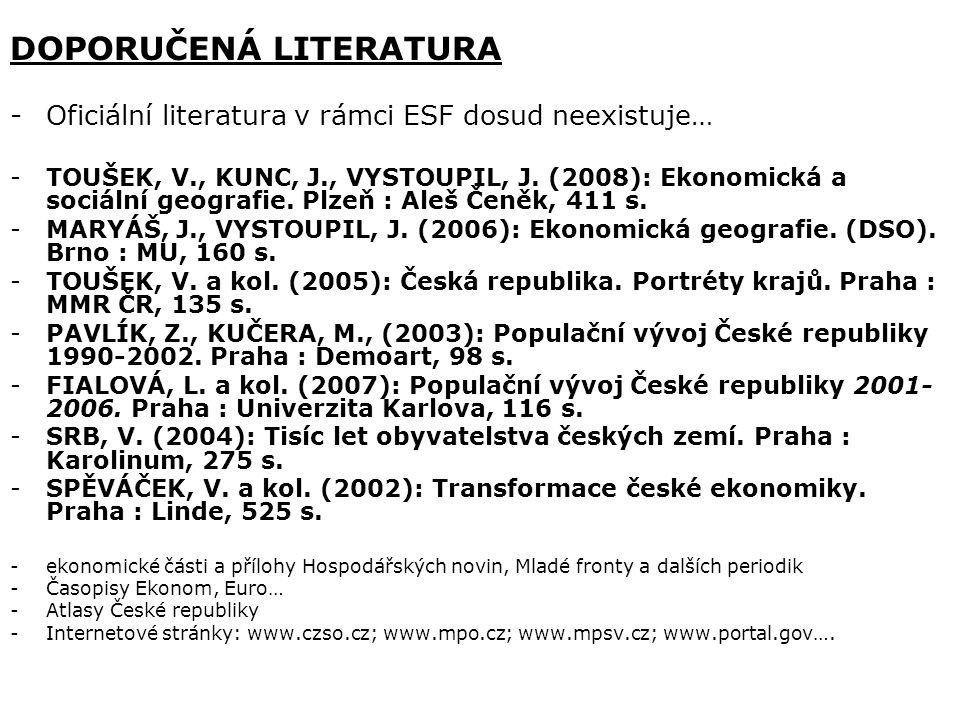 DOPORUČENÁ LITERATURA -Oficiální literatura v rámci ESF dosud neexistuje… -TOUŠEK, V., KUNC, J., VYSTOUPIL, J.