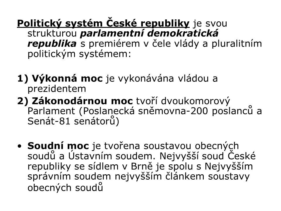 Politický systém České republiky je svou strukturou parlamentní demokratická republika s premiérem v čele vlády a pluralitním politickým systémem: 1) Výkonná moc je vykonávána vládou a prezidentem 2) Zákonodárnou moc tvoří dvoukomorový Parlament (Poslanecká sněmovna-200 poslanců a Senát-81 senátorů) Soudní moc je tvořena soustavou obecných soudů a Ústavním soudem.
