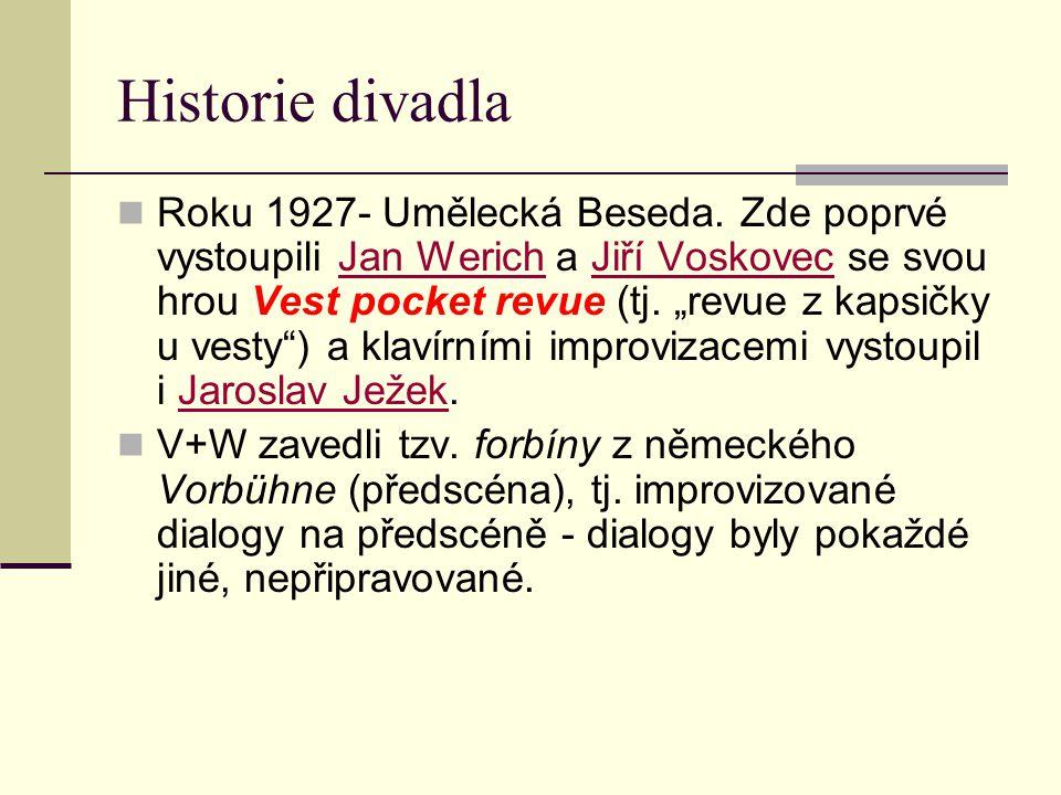 """Historie divadla Roku 1927- Umělecká Beseda. Zde poprvé vystoupili Jan Werich a Jiří Voskovec se svou hrou Vest pocket revue (tj. """"revue z kapsičky u"""