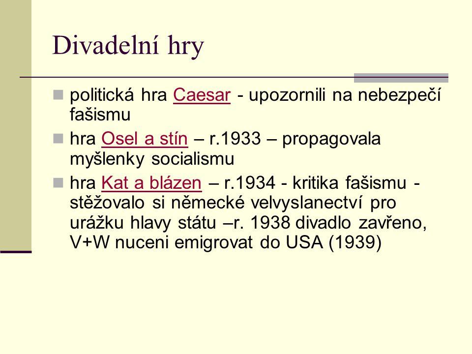 Divadelní hry politická hra Caesar - upozornili na nebezpečí fašismuCaesar hra Osel a stín – r.1933 – propagovala myšlenky socialismuOsel a stín hra K