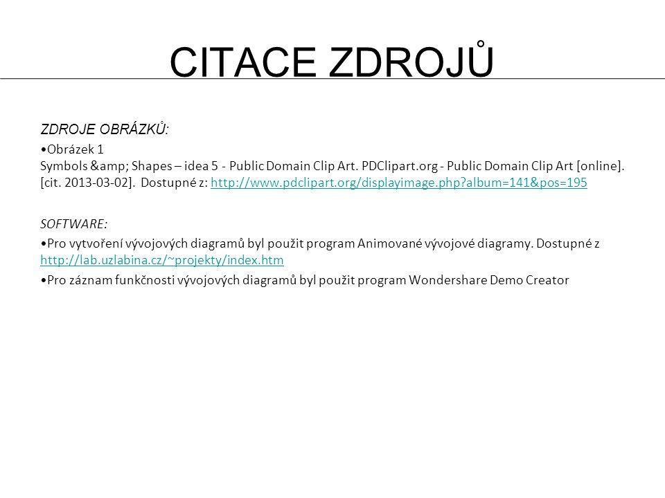 CITACE ZDROJŮ ZDROJE OBRÁZKŮ : Obrázek 1 Symbols & Shapes – idea 5 - Public Domain Clip Art.