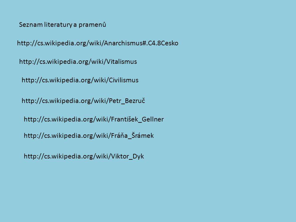 http://cs.wikipedia.org/wiki/Anarchismus#.C4.8Cesko http://cs.wikipedia.org/wiki/Vitalismus http://cs.wikipedia.org/wiki/Civilismus http://cs.wikipedia.org/wiki/Petr_Bezruč http://cs.wikipedia.org/wiki/Fráňa_Šrámek http://cs.wikipedia.org/wiki/František_Gellner http://cs.wikipedia.org/wiki/Viktor_Dyk Seznam literatury a pramenů