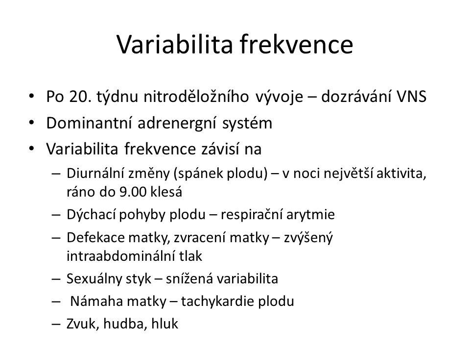 Variabilita frekvence Farmaka – atropín, adrenalín, hyponotiká, anestetiká, diazepam Kouření – 1 cigareta zvýší frekvence o 13% a klesá variabilita na 50 minut