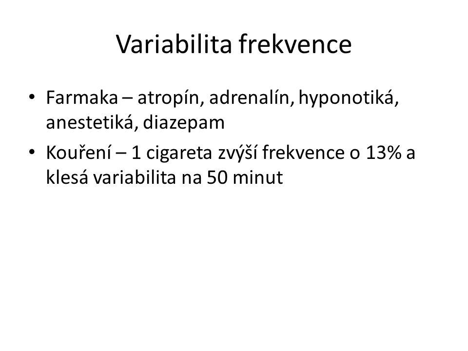 Variabilita frekvence Farmaka – atropín, adrenalín, hyponotiká, anestetiká, diazepam Kouření – 1 cigareta zvýší frekvence o 13% a klesá variabilita na
