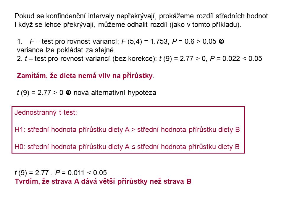 Pokud se konfindenční intervaly nepřekrývají, prokážeme rozdíl středních hodnot.
