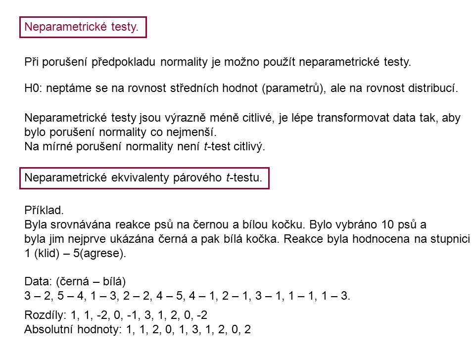 Neparametrické testy. Při porušení předpokladu normality je možno použít neparametrické testy.