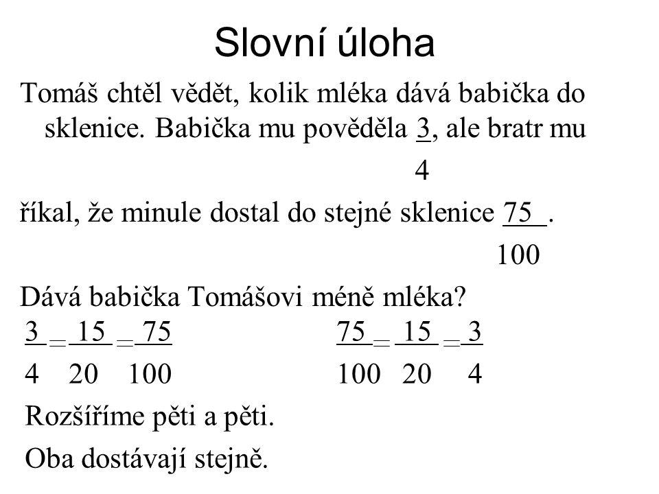 Slovní úloha 3 15 75 4 20 100 Rozšíříme pěti a pěti.